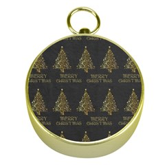 Merry Christmas Tree Typography Black And Gold Festive Gold Compasses by yoursparklingshop