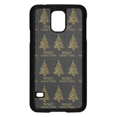 Merry Christmas Tree Typography Black And Gold Festive Samsung Galaxy S5 Case (black) by yoursparklingshop
