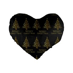 Merry Christmas Tree Typography Black And Gold Festive Standard 16  Premium Flano Heart Shape Cushions by yoursparklingshop