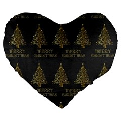 Merry Christmas Tree Typography Black And Gold Festive Large 19  Premium Flano Heart Shape Cushions by yoursparklingshop