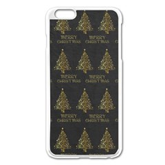 Merry Christmas Tree Typography Black And Gold Festive Apple Iphone 6 Plus/6s Plus Enamel White Case by yoursparklingshop