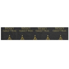 Merry Christmas Tree Typography Black And Gold Festive Flano Scarf (large) by yoursparklingshop
