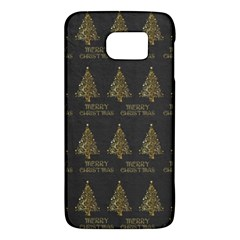 Merry Christmas Tree Typography Black And Gold Festive Galaxy S6 by yoursparklingshop