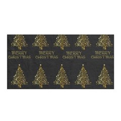 Merry Christmas Tree Typography Black And Gold Festive Satin Wrap by yoursparklingshop
