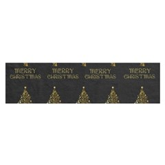 Merry Christmas Tree Typography Black And Gold Festive Satin Scarf (oblong) by yoursparklingshop