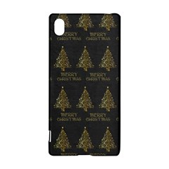 Merry Christmas Tree Typography Black And Gold Festive Sony Xperia Z3+ by yoursparklingshop
