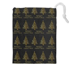 Merry Christmas Tree Typography Black And Gold Festive Drawstring Pouches (xxl) by yoursparklingshop