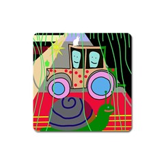 Tractor Square Magnet by Valentinaart
