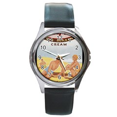 Vintage Summer Sunscreen Advertisement Round Metal Watch by yoursparklingshop