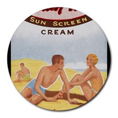 Vintage Summer Sunscreen Advertisement Round Mousepads by yoursparklingshop