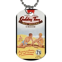 Vintage Summer Sunscreen Advertisement Dog Tag (two Sides) by yoursparklingshop