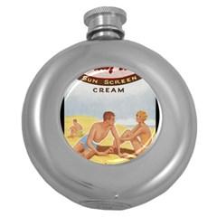 Vintage Summer Sunscreen Advertisement Round Hip Flask (5 Oz) by yoursparklingshop