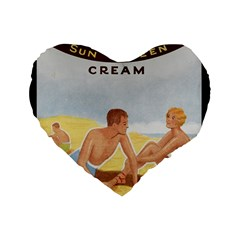 Vintage Summer Sunscreen Advertisement Standard 16  Premium Flano Heart Shape Cushions by yoursparklingshop