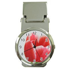 Red Tulip Watercolor Painting Money Clip Watches by picsaspassion
