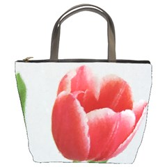 Red Tulip Watercolor Painting Bucket Bags by picsaspassion