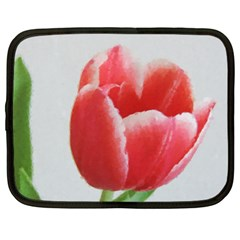 Red Tulip Watercolor Painting Netbook Case (xl)  by picsaspassion