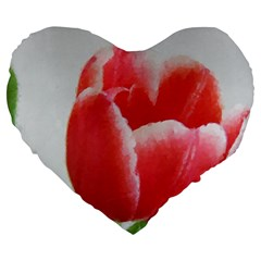 Red Tulip Watercolor Painting Large 19  Premium Heart Shape Cushions by picsaspassion