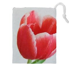 Red Tulip Watercolor Painting Drawstring Pouches (xxl) by picsaspassion