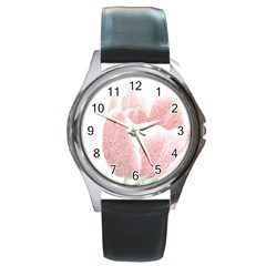 Red Tulip pencil drawing Round Metal Watch by picsaspassion