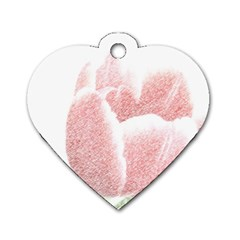 Red Tulip Pencil Drawing Dog Tag Heart (two Sides) by picsaspassion