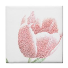 Red Tulip Pencil Drawing Tile Coasters by picsaspassion