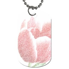 Red Tulip Pencil Drawing Dog Tag (two Sides) by picsaspassion