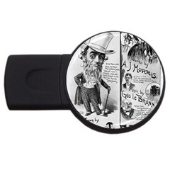 Vintage Song Sheet Lyrics Black White Typography Usb Flash Drive Round (2 Gb)  by yoursparklingshop