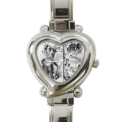 Vintage Song Sheet Lyrics Black White Typography Heart Italian Charm Watch by yoursparklingshop