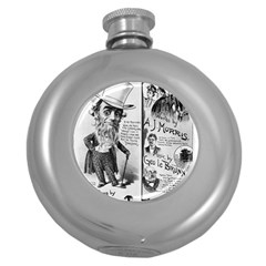 Vintage Song Sheet Lyrics Black White Typography Round Hip Flask (5 Oz) by yoursparklingshop