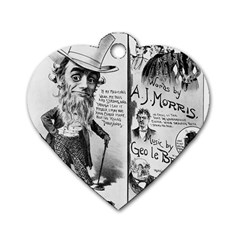 Vintage Song Sheet Lyrics Black White Typography Dog Tag Heart (two Sides) by yoursparklingshop
