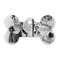 Vintage Song Sheet Lyrics Black White Typography Dog Tag Bone (two Sides) by yoursparklingshop