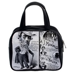Vintage Song Sheet Lyrics Black White Typography Classic Handbags (2 Sides) by yoursparklingshop