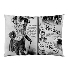 Vintage Song Sheet Lyrics Black White Typography Pillow Case by yoursparklingshop