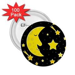 Sleeping Moon 2 25  Buttons (100 Pack)  by Valentinaart