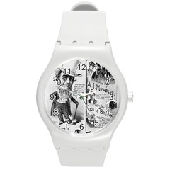 Vintage Song Sheet Lyrics Black White Typography Round Plastic Sport Watch (m) by yoursparklingshop