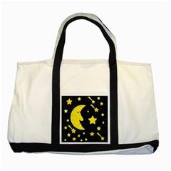 Sleeping Moon Two Tone Tote Bag by Valentinaart