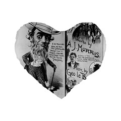 Vintage Song Sheet Lyrics Black White Typography Standard 16  Premium Flano Heart Shape Cushions by yoursparklingshop