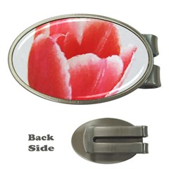 Tulip Red Watercolor Painting Money Clips (oval)  by picsaspassion