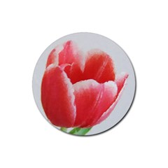 Tulip Red Watercolor Painting Rubber Round Coaster (4 Pack)  by picsaspassion