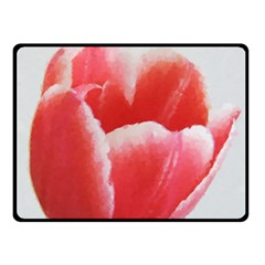 Tulip Red Watercolor Painting Fleece Blanket (small) by picsaspassion