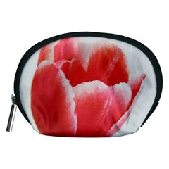 Tulip Red Watercolor Painting Accessory Pouches (medium)  by picsaspassion