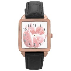 Tulip Red Pencil Drawing Art Rose Gold Leather Watch  by picsaspassion