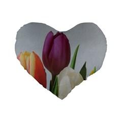 Tulips Standard 16  Premium Flano Heart Shape Cushions by picsaspassion