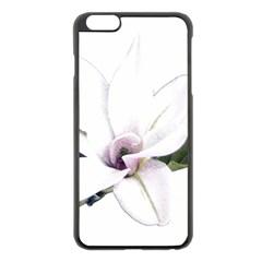 White Magnolia Pencil Drawing Art Apple Iphone 6 Plus/6s Plus Black Enamel Case by picsaspassion