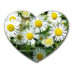 White Summer Flowers Watercolor Painting Art Heart Mousepads