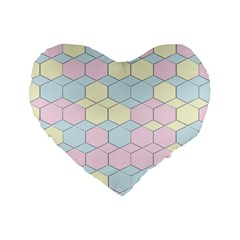 Colorful Honeycomb   Diamond Pattern Standard 16  Premium Flano Heart Shape Cushions by picsaspassion