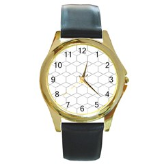 Honeycomb   Diamond Black And White Pattern Round Gold Metal Watch by picsaspassion