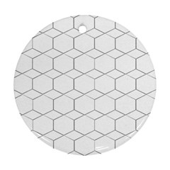 Honeycomb   Diamond Black And White Pattern Round Ornament (two Sides)  by picsaspassion