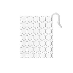 Honeycomb   Diamond Black And White Pattern Drawstring Pouches (small)  by picsaspassion