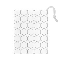 Honeycomb   Diamond Black And White Pattern Drawstring Pouches (large)  by picsaspassion